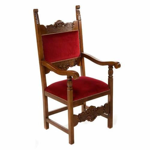 Silla tipo barroco para sacristía de madera de nogal s1