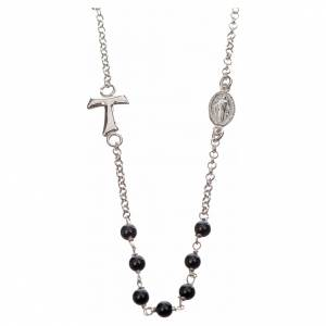 Silver necklace with Tau cross and freshwater pearls, MATER jewe s1
