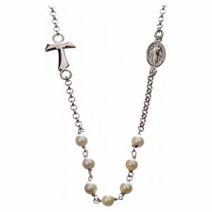 Silver necklace with Tau cross and white pearls, MATER jewels s1