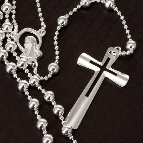 Silver rosary necklace, silver 925 4 mm beads s5