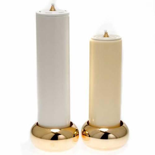 Simple altar candlestick, golden brass s5