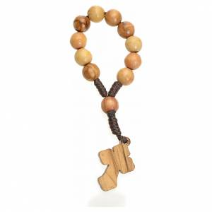 Single decade rosaries: Single decade rosary in Holy Land olive wood, metal cross