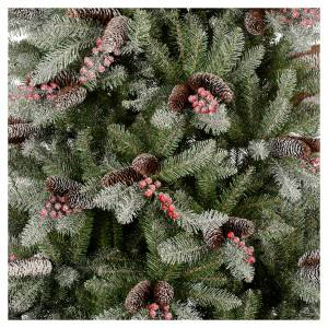 Artificial Christmas trees: Slim Christmas tree 210 cm, flocked Dunhill with pine cones and berries