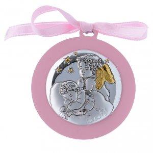Sopraculla nastro rosa Angeli con stelle  bilaminato finiture oro 4 cm s1