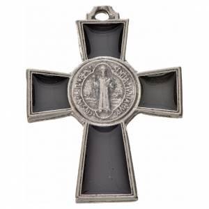 Saint Benedict crosses: St. Benedict cross 4x3cm, in zamak and black enamel