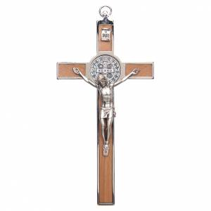 St. Benedict cross in zamak and carved wood s1