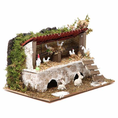 Stable for nativities with hens and rabbits measuring 12x20x14cm s3