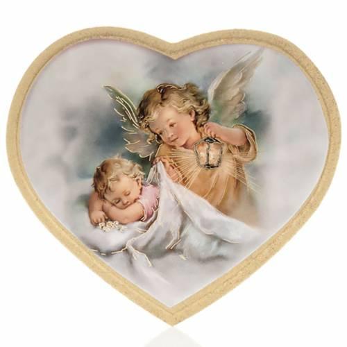 Stampa su legno cuore angelo custode con bimbo s2