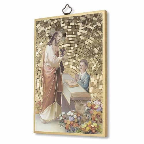Stampa su legno Gesù Bimbo Preghiera Ringraziamento diploma Comunione ITA s2