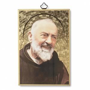 Quadri, stampe, codici miniati: Stampa su legno Padre Pio Preghiera a Padre Pio ITA