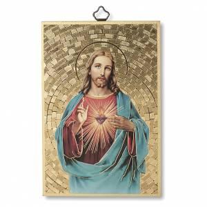 Quadri, stampe, codici miniati: Stampa su legno Sacro Cuore di Gesù  Al Sacro Cuore di Gesù ITA