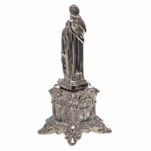 Statua ceramica platino Sacro Cuore Gesù su tronetto s4