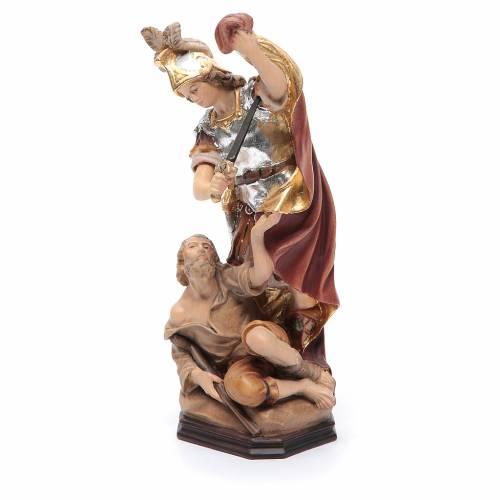 Statua San Martino legno armatura color argento mantello rosso s2