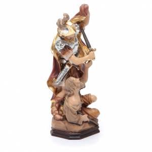 Statua San Martino legno armatura color argento mantello rosso s4
