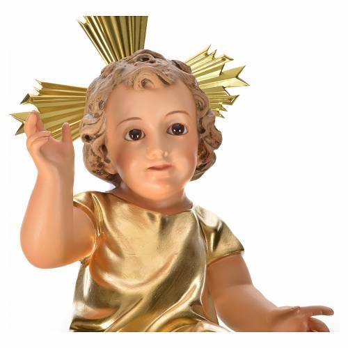 Gesù Bambino pasta legno veste dorata cm 35 dec. elegante s3