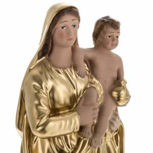 Statua Madonna con bambino dorata 30 cm s2