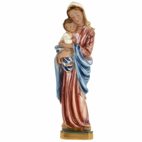 Statua Madonna con bimbo 30 cm gesso s1