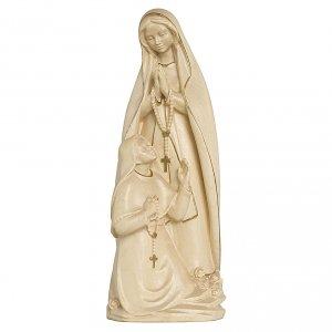 Madonna di Lourdes con Bernadette legno Valgardena cerata filo oro s1