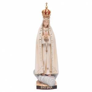 Statue in legno dipinto: Statua Madonna Fatima con corona legno Valgardena colorato