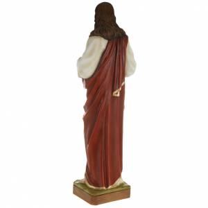Statua Sacro cuore di Gesù 80 cm polvere di marmo dipinto s5