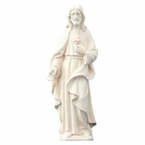 Statua Sacro Cuore di Gesù legno della Val Gardena al naturale s1