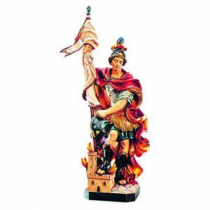 Statua San Floriano in legno colorato s1