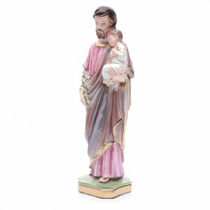 Statua San Giuseppe con bambino gesso madreperlato 30 cm s2