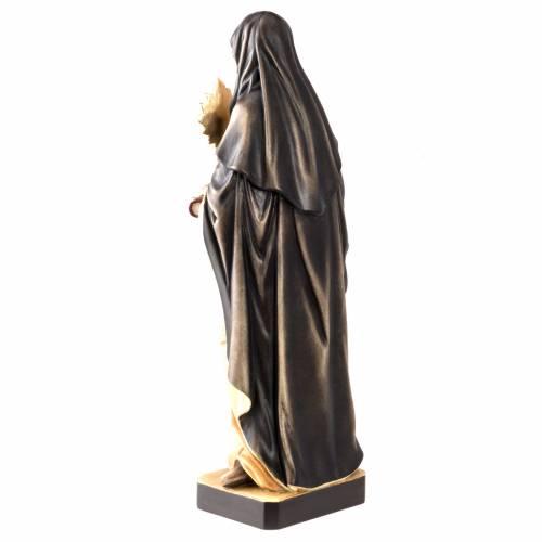 Statue bois Sainte Claire avec ostensoir peinte s5