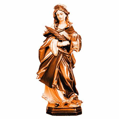 Statue de Sainte Odile en bois marron clair foncé s1