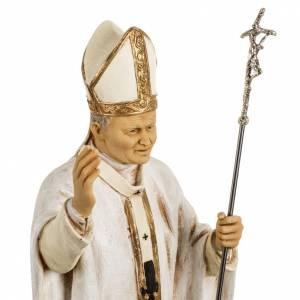 Statuen aus Harz und PVC: Statue Johannes Paul II weiße Kleidung 50 cm, Fontanini