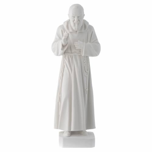 Statue père Pio marbre reconstitué blanc 30cm s1
