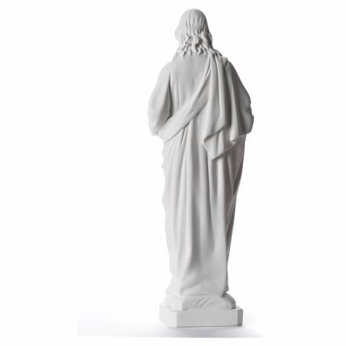 Statue Sacré Coeur de Jésus marbre blanc 40cm s3