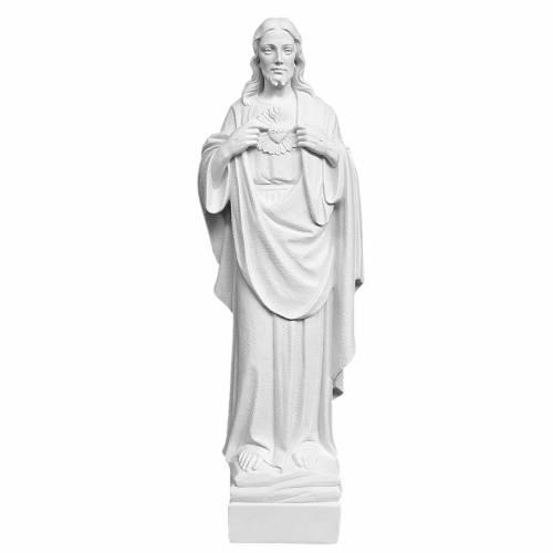 Statue Sacré coeur de Jésus poudre de marbre 70 cm s1