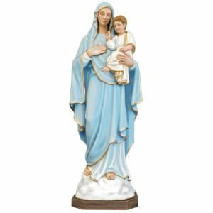 Statue Vierge à l'enfant fibre de verre colorée 130cm s1