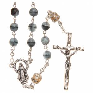 STOCK Glass & crystal rosary variegated blue 6mm s1