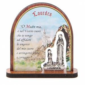 STOCK Small painting Lourdes Apparition arch 7cm ITALIAN s1
