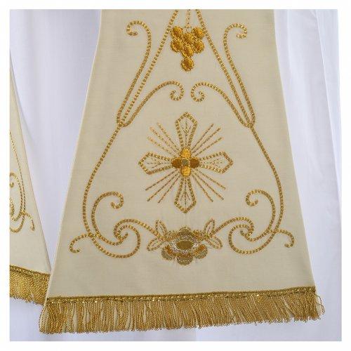 Stola bianca ricamo oro antico pura lana s2