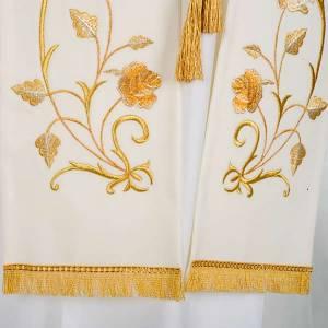 Priesterstolen: Stola goldene Blumen, weiss