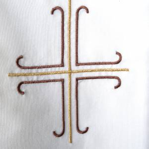 Stole, white with golden and brown cross s3