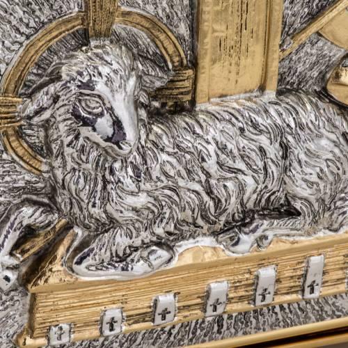 Tabernacle de table laiton bicolore agneau, croix raisins s6