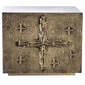Tabernacle Molina croix relief laiton feuille or s1