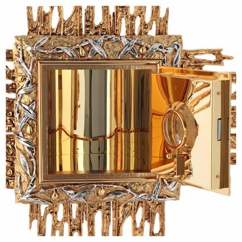 Tabernacolo da parete ottone fuso oro argento JHS s6