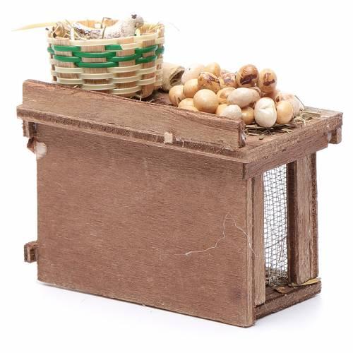 Table avec cage poule oeufs 9x8x5,5 cm crèche napolitaine s4