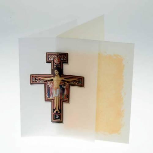 Tarjeta de felicitación crucifijo San Damián perga s2