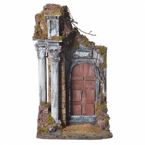 Temple with brown door for nativities, 20x20x40cm s1