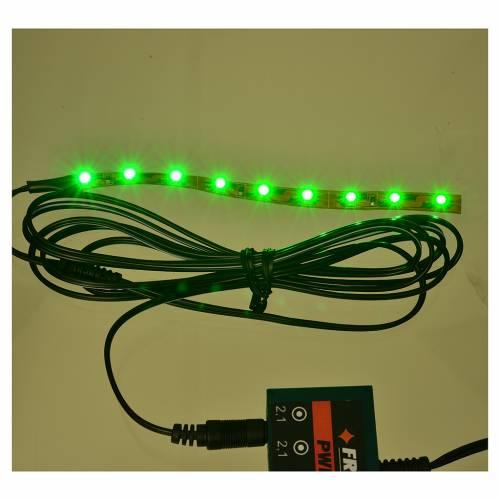 Tira de 9 LED cm. 0.8x12 cm. verde Frisalight s2