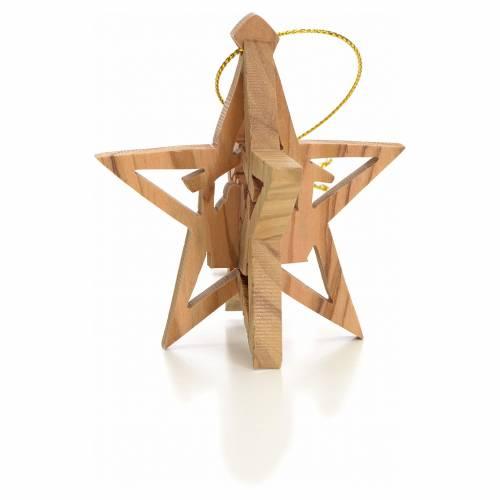 Étoile Rois Mages pour décoration sapin en bois d'olivier s2