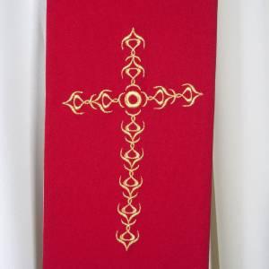 Étole liturgique avec croix dorées fleurs double face s2