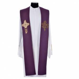 Étole liturgique croix IHS polyester coton lurex s3