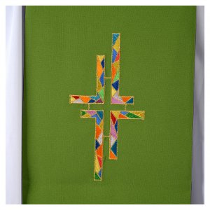Étole liturgique double face vert violet croix colorées s6